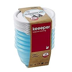 keeeper Tiefkühldosenset 6-teilig, Wiederbeschreibbarer Deckel, 6 x 200 ml, Ø 9,5 x 5 cm, Mia Polar, Eisblau Transparent