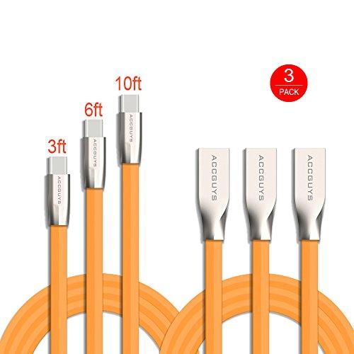 G5-laufwerke (Typ C Kabel, ACC GUYS 3Pack 3ft 6ft 10ft Zink Alloy USB C Daten & Ladekabel mit Aluminium Steckverbinder für Nexus 6P / 5X, LG G5, OnePlus 2 und mehr (Orange))