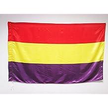 BANDERA ESPAÑA REPUBLICANA SIN ESCUDO 150x90cm en RASO para palo - BANDERA DE LA REPUBLICA ESPAÑOLA 90 x 150 cm - AZ FLAG