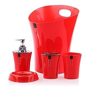 5 pi ces en plastique accessoire de salle de bain ensemble for Ensemble salle de bain porte savon