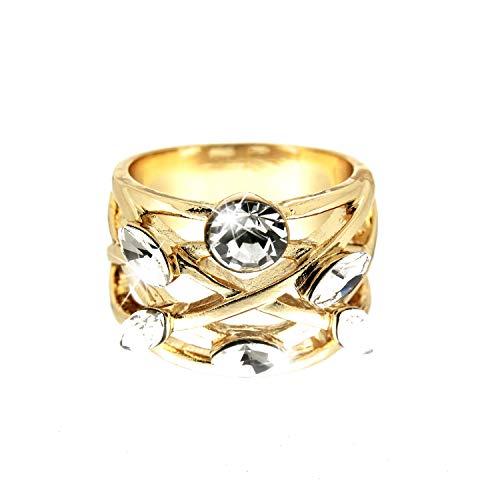 Sweet Deluxe Ring Nashila, Gold/Crystal I Damen-Ring I Mode-Schmuck Ring für Frauen I Ringe Rings für Mädchen I modisches - Kostüm Schmuck Diamant Ring