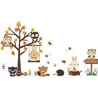 YeahiBaby Pegatinas de Pared Decorativas Infantil Vinilos de Animales Búho Conejo Mapache Erizo