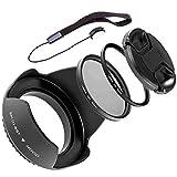 LUMOS Kit d'accessoires 67mm | hotte d'objectif filtre polarisant UV cache Porte-Bouchon | pour votre Canon Photo Camera Objectif avec Ø 67 mm fil de filtre