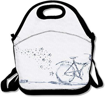 Bicicletta realizzata in acqua per offrire un trasporto ecologico con una galleggiante divertente borsa termica in neoprene per il pranzo con tracolla per donne, uomini, bambini, picnic.