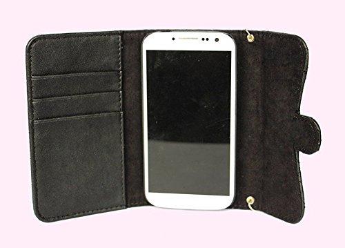 Pour iPhone 5/5s/SE Coque, iNenk® Mode PU Cuir Carte Supporter Portefeuille Solide Chaîne Téléphone Coque Couverture Housse protection Pour femmes Pour iPhone 5/5s/SE-Rose Noir