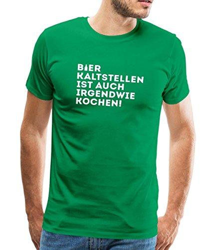 Spreadshirt Bier Kaltstellen Ist Auch Kochen Witziger Spruch Männer Premium T-Shirt, L, Kelly Green (T-shirt Bier Humor Grünes)
