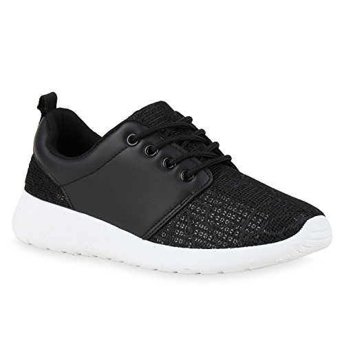 Damen Laufschuhe | Modische Sportchuhe| Sneaker Profilsohle |Glitzer Pailletten Sneakers | Runners Snake Blumen Schwarz Glatt Pailletten