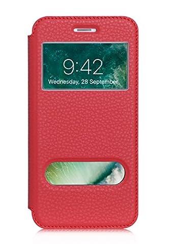 ISIN Housse pour Téléphones Portables Série Étui Premium PU View Window Flip pour Apple iPhone 7 Plus (Rouge)