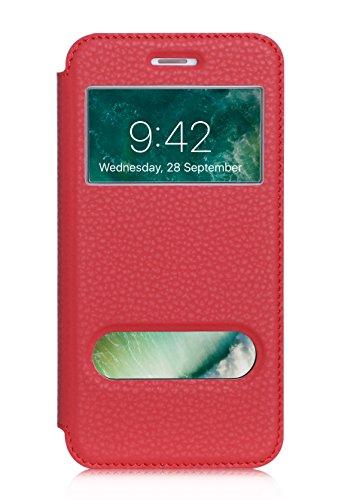 ISIN Cell Teléfono Móvil Series-Funda de Premium PU Smart Cover con View Window para Apple iPhone 7 Plus (Rojo)