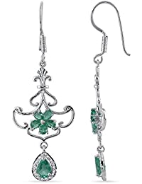 Emeralds Bazar 925 Sterling Silver 2.27cts Emerald And White Sapphire Classy Contour With Drop Stud Earrings Emerald...