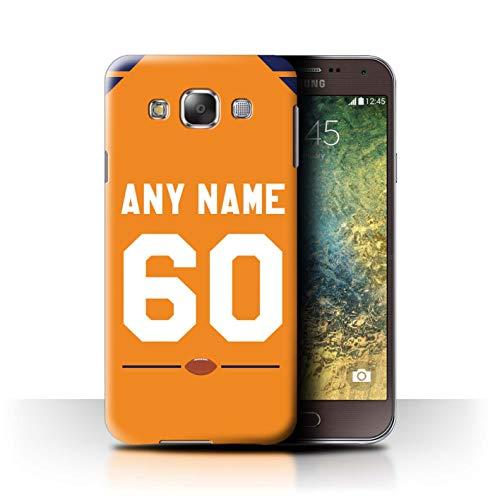 eSwish Personalisiert Individuell Amerikanischer Fußball Jersey Hülle für Samsung Galaxy E5/E500 / Orange/Blau Design/Initiale/Name/Text Schutzhülle/Case/Etui