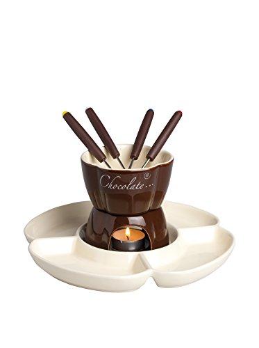 Excelsa Chocolate Service à fondue au chocolat avec assiettes, 8 pièces, céramique, crème/marron, manche marron, 25 x 25 x 12 cm
