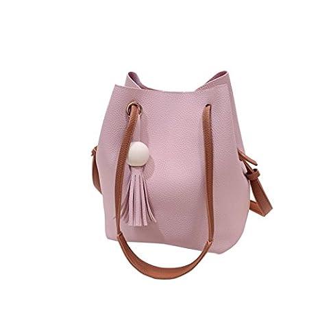 Ouneed Fashion Women Tassel Leather Satchel Handbag Shoulder Tote Messenger Bag (Pink)