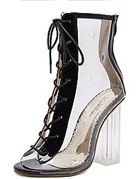 HIGHXE Fashion Sandali da Donna 2018 Estate New Open Toe Cross Strap  Trasparente Stivali Spessi Tacco Alto deca502bd0f