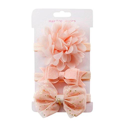 erthome Stirnband, Baby Mädchen Bowknot Haarband Set 3Pcs Kinder elastisches Blumen Stirnband Haarband (E)