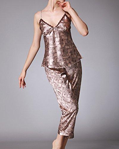 Damen Lange Ärmel Satin V-Ausschnitt Weste Elegant Pyjama Schlafanzug Set Kaffeebraun