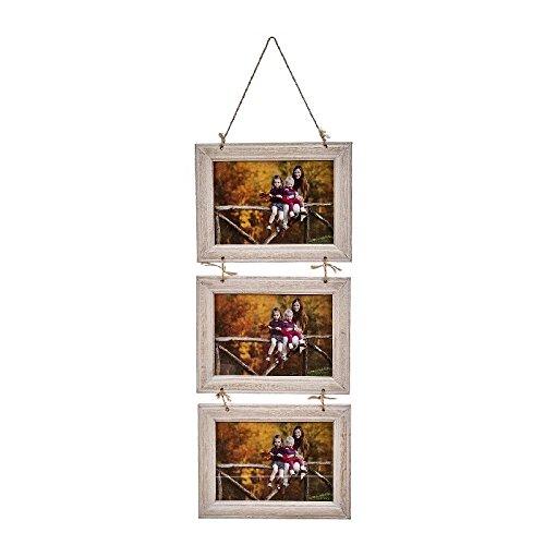 dcasa - Marco de fotos multiple colgante original de madera para 3 fotos 13x18 cm