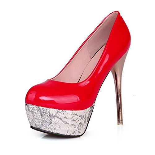 VogueZone009 Femme Fermeture D'Orteil Rond Tire Pu Cuir Couleur Unie à Talon Haut Chaussures Légeres Rouge