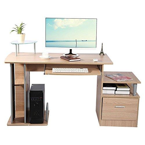 Gototop computer desk scrivania ufficio porta pc tavolo,con ripiani tastiera ripiano scorrevole tavoli riunioni (colore ruote noce)