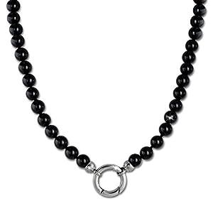 Amello Halskette Kette für Ecken Medaillons Onyx 100cm schwarz Schmuck für Damen esc115s