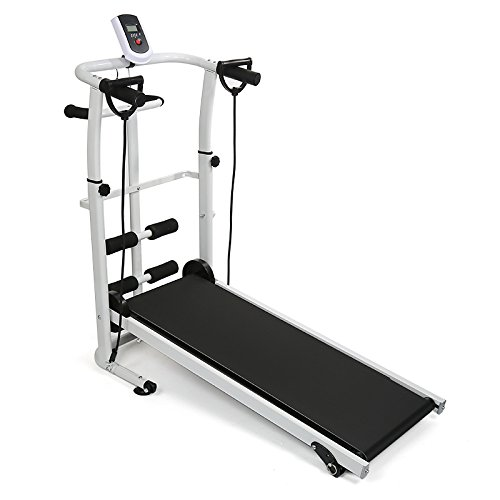 Turefans Laufband, rutschfest, Geeignet bis 100 kg Max Laufband Lauftraining Fitnessgerät mit LED-Bildschirm - Laufen, Sit-ups und Twist Three in One
