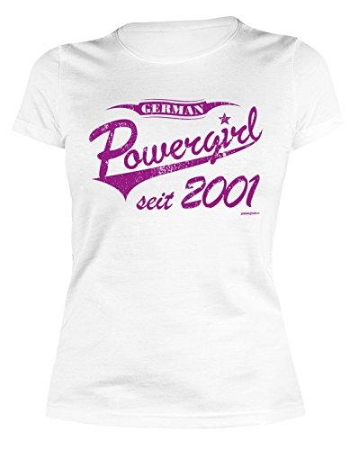 Damen Tshirt zum Geburtstag: German Powergirl seit 2001 - Tolle Geschenkidee - Baujahr 2001 - Farbe: weiss Weiß