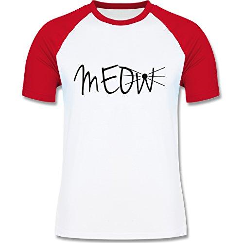 Statement Shirts - Meow - zweifarbiges Baseballshirt für Männer Weiß/Rot