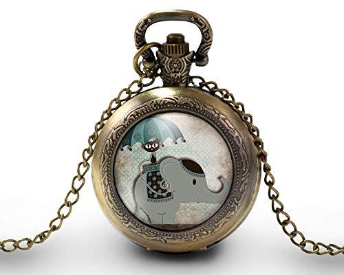 Collar de reloj de bolsillo - cabochon -'paseo en elefante'- Regalo de Navidad para regalo mujer - San Valentín- regalo de cumpleaños bronce (ref.25)