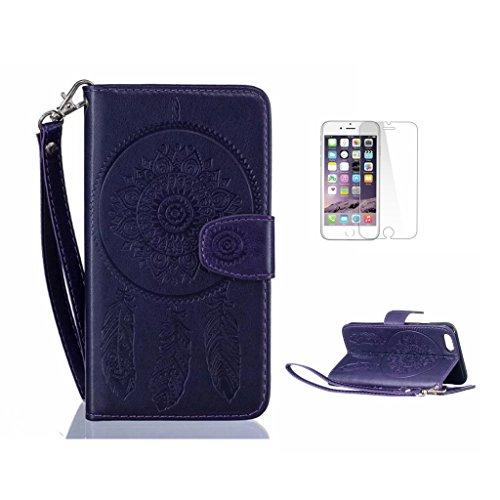iPhone 7Plus custodia, con protezione per lo schermo in vetro temperato] antigraffio, fatcatparadise (TM) Custodia posteriore in silicone morbido, elegante vintage Pressed vento campana Acchiappasogn Purple