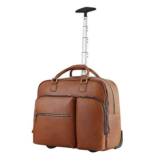 Leathario Herren Aktentasche Aktenkoffer mit Rollen Ledertasche Leder Arbeitstasche Umhängetasche Laptop Tasche geeignet für Arbeit und Dienstreise (Hellbraun)