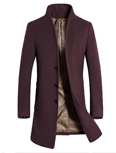 Vogstyle Herren Winter Slim Fit Wollmantel Business Überzieher Schlank Lange Windbreaker Jacken Dick Burgund M