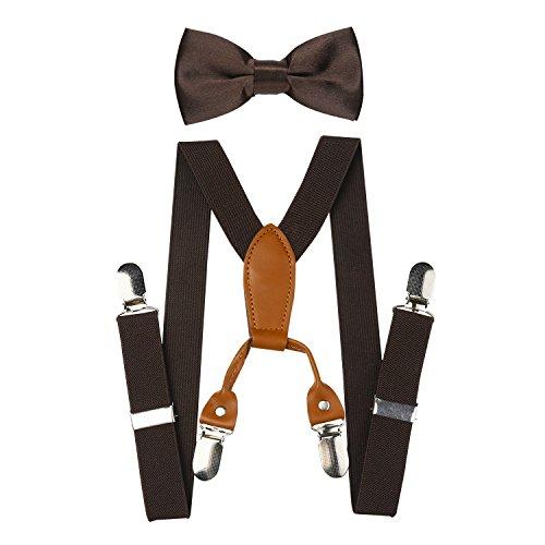 nd Verstellbare Elastische Hosenträger Hosenträger und Fliege Set (Braun) ()