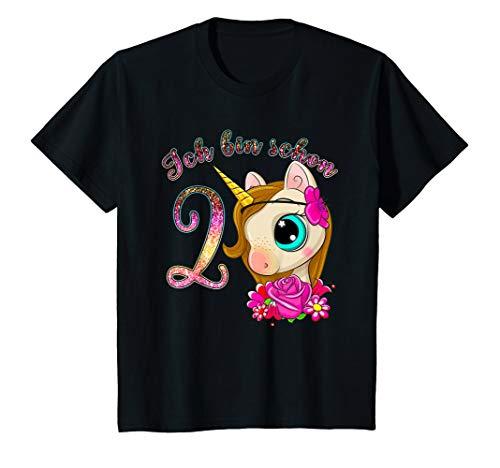 Kinder Mädchen Einhorn T-Shirt Ich bin 2 Jahre alt 2. Geburtstag -