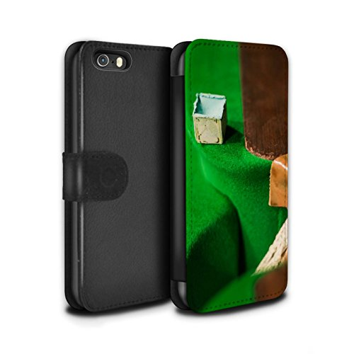 Stuff4 Coque/Etui/Housse Cuir PU Case/Cover pour Apple iPhone SE / Boul Blanc/Craie Design / Snooker Collection Craie/Poche