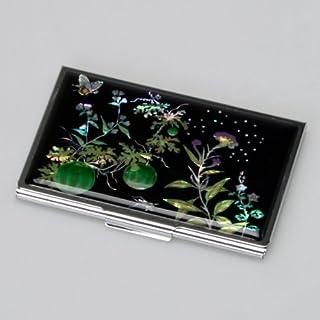 Kredit Visitenkartenetui Luxus Metall Schwarz Perlmutt Edestahl Kuerbis Schmetterling