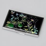 Etui pour cartes de visite représentant une peinture orientale célèbre de fleurs et papillons