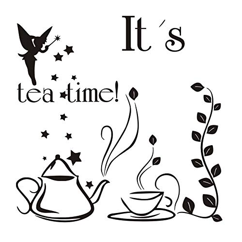 Wandaufkleber, Es Ist Tee Zeit Fee Mit Zauberstab Teekanne Und Tasse Kreatives Design Diy Wanddekor Restaurant Dekoration 59X59 Cm