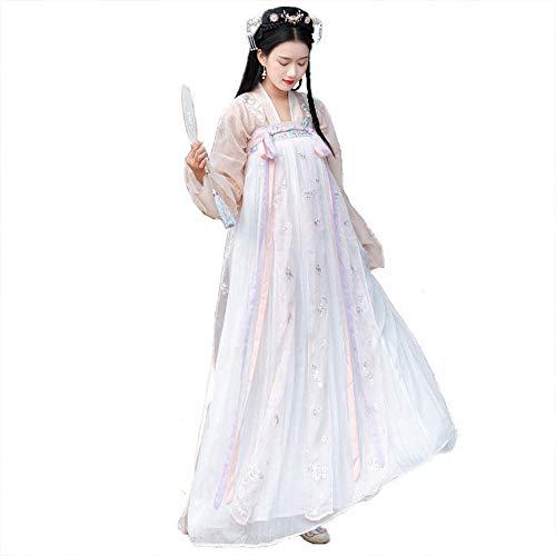 Frauen Kostüm Blumen Fee - AIFXZ Chinesisches Kleid, Weinlese gesticktes Hanfu für Lange Hülse der Frauen für Partei, Fotoaufnahmekleidung Cosplay Tanz-Kostüm-Blumen-Drucken,Pink-L