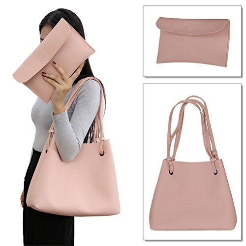 Honeyall Damen Art und Weisefrauen PU Leder Schultertasche aus Kunst-Leder Handtasche + Schultertasche + Geldbeutel 2pcs Grau Pink