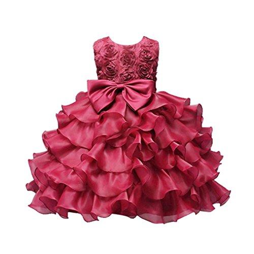 der, DoraMe Baby Mädchen Rose Bowknot Party Kleid Geburtstag Hochzeit Brautjungfer Pageant Formal Pompon Kleid für 0-10 Jahr (Rose Rot, 12 Monate) (Disney Prinzessin-kleid Für Mädchen)