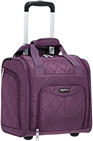 AmazonBasics Underseat Carry-On Rolling Travel Luggage Bag, 14-Inches - Purple Quilted