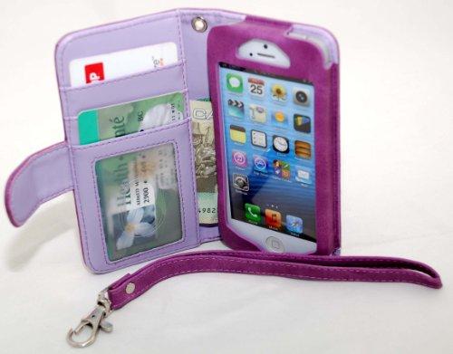 myBitti Deluxe Klappetui für iPhone 5, aus PU-Leder, multifunktional, mit Karten- und bills-purple