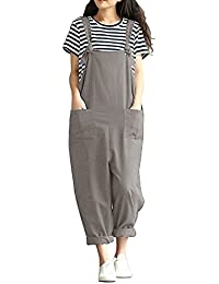 80d722fa00f3 Sobrisah Women s Linen Overalls Baggy Adjustable Strap Sleeveless Jumpsuits  Casual Loose Wide Leg Dungarees Rompers