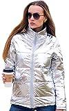 Angashion Damen Warme Winter Reißverschluss Daunenjacke Mantel Outwear Steppjacke Winterjacke Baumwolljacke mit Tasche Helles Silber, Metallisches Silber, L (EU 38)