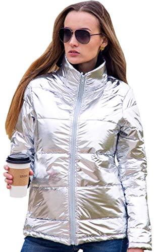 Angashion Damen Warme Winter Reißverschluss Daunenjacke Mantel Outwear Steppjacke Winterjacke Baumwolljacke mit Tasche Helles Silber