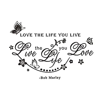 Love The Life You Live Art Wall Stickers Wall Decal Letters Home Diy Black Waterproof Sticker