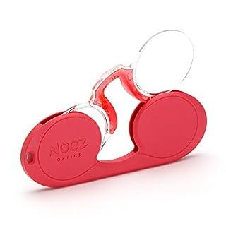 NOOZ - Bügellose Lesebrille Unisex - Rot +1 Oval - Immer griffbereit