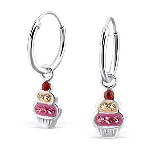 Ohrringe in Sterlingsilber, Anhänger in Cupcake-Form, mit Kristall-Steinen, mit Geschenk-Box, 1 Paar