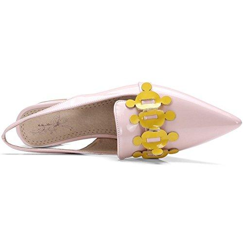 COOLCEPT Damen Mode Slip On Sandalen Slingback Geschlossene Blockabsatz Schuhe Mit Blume Rosa