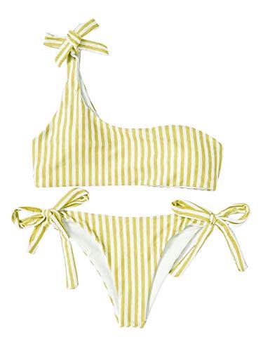 Heekpek Bikini a Rayas con un Hombro Pajarita Cintura Alta Tanga Lado Anudado Bañador...